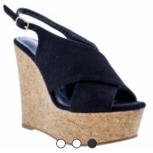 Shoes - ✨PRE ORDER ✨Black sling back cork wedges
